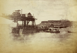 K.H.W. [Karachi Harbour Works]. Setting last block, 22nd Febry, 1873.